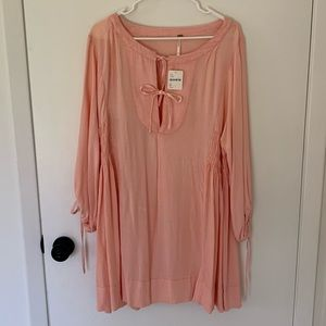 NWT free people peach tie front dress